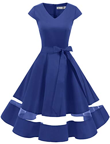Gardenwed 1950er Vintage Retro Rockabilly Kleider Petticoat Faltenrock Cocktail Festliche Kleider Cap Sleeves Abendkleid Hochzeitkleid Royal Blue M