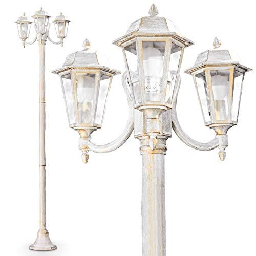 Außenleuchte NATAL, Kandelaber in antikem Look, Aluguß in Weiß/Gold mit Klarglas-Scheiben, 3-armige Wegeleuchte 210 cm, Retro/Vintage Gartenlampe, E27-Fassung, je max. 60 Watt, IP44