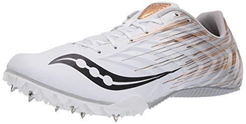 Saucony Women's Spitfire 5 Walking Shoe, White/Gold, 8.5 M US