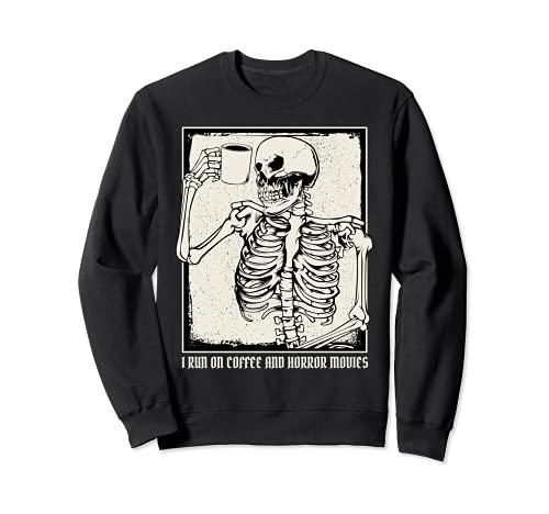 Me gusta el caf y las pelculas de terror Esqueleto bebedor Sudadera