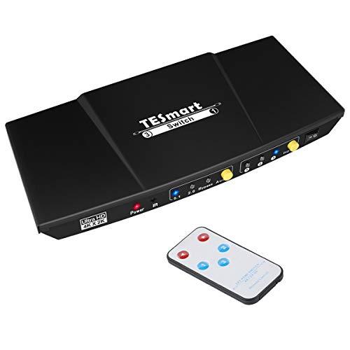 HDMI Switch TESmart Aluminium HDMI Switch 3 in 1 Out Unterstützt Audio 4K/UHD/HD/1080P 3D HDCP HDMI Umschalter Intelligent Umschaltung für Xbox /PS4 pro /PS4/ HDTV/Blu-Ray/DVD usw. inkl Fernbedienung