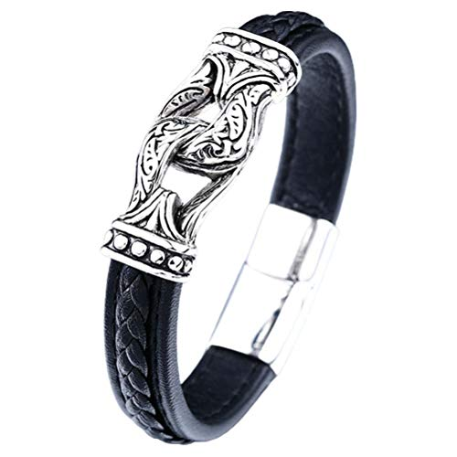 WINBST Pulsera para hombre, Viking de piel negra, estilo nórdico, símbolo de infinito, cuero auténtico trenzado con cierre magnético, idea de regalo