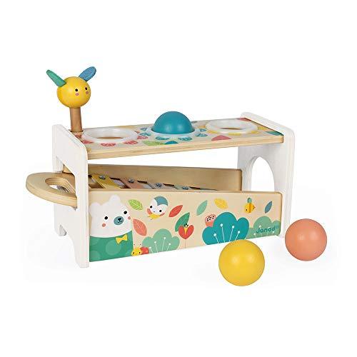 Janod - Xilófono para golpear Pure, juguete de madera 2 en 1, despertador musical y juego de habilidad, con 3 bolas + Martillo + Xilófono, desde 1 año (J05155)