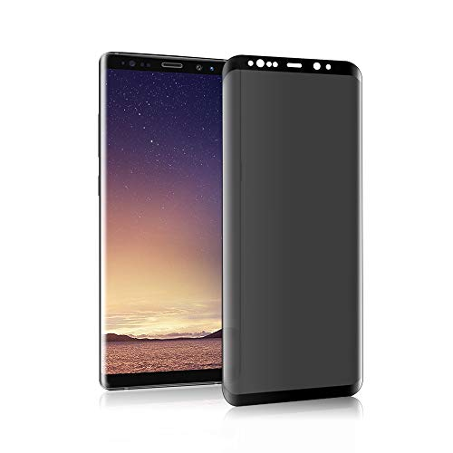 Galaxy Note 8 privacy screen protector [anti-glare] [3D curve] 9H hardness scratch resistance, suitable for Samsung Galaxy Note 8 Black