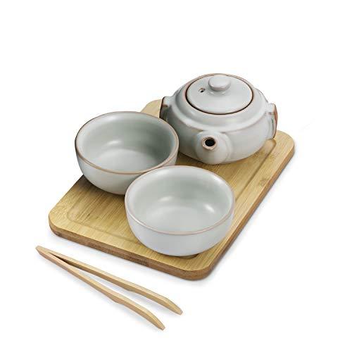 Flexzion Chinese Japanese Vintage Kungfu Gongfu Tea Set Portable Travel Teapot, (Jade Green Celadon/Greenware) Porcelain Ceramic Tea Pot, 2 Tea Cup, Bamboo Tea Tray, Tea Mat, Portable Travel Bag