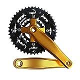 POHOVE Fahrrad-Kurbelsatz, Single-Speed-Kurbelsatz, 22 32 44 Zähne, Aluminium-Legierung, Fahrrad-Kurbelsatz, quadratischer Kegel, für Fahrräder mit festem Gang, Singlespeed / Track Rennrad (Gold)