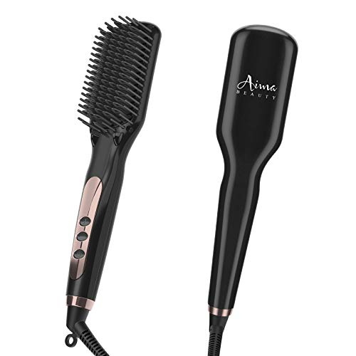 Ionic Hair Straightener Brush Electrical Heated Straightening Comb for Hair, 10 Heat Levels, LCD Tem Display,Professional Hair Care Brushes Set for Travel & Salon (Black)