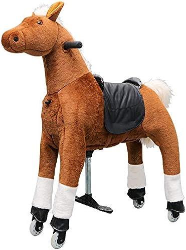 Eurotondisplay Reitpony auf Rollen Rollpferd Reitpferd beweglich Plüschpferd Antrieb durch Reitbewegung Small Medium Large 3-99 Jahre (Braun M-11 Weiß M e,Schwanz & Huf)