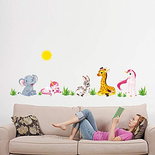 QingyU muursticker, motief: dieren van het bos voor kinderkamer, kleuterschool, horse olifant, home decoratie, doe-het-zelf wallpaper art decals