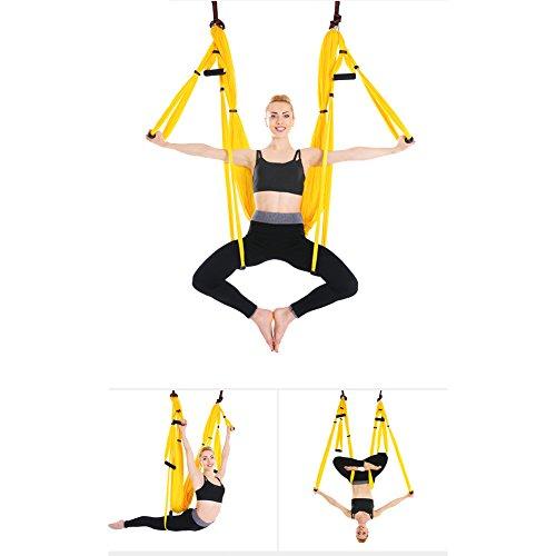Juego de hamaca de yoga para ejercicios de inversión de yoga antigravedad, amarillo