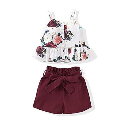 Kucnuzki Toddler Baby Girl Clothes Summer Outfits Ruffle Sleeveless Linen Shirt Kid Short Set for Girl (2T / 3T, Y Maroon) from Kucnuzki