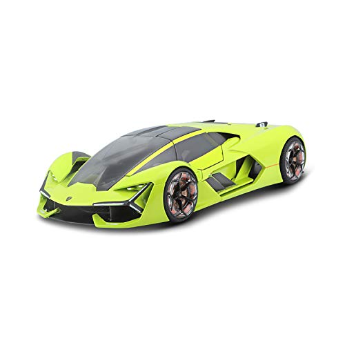 Lamborghini Terzo Millennio Lime Green with Black Top and Carbon Accents 1/24 Diecast Model Car by Bburago 21094
