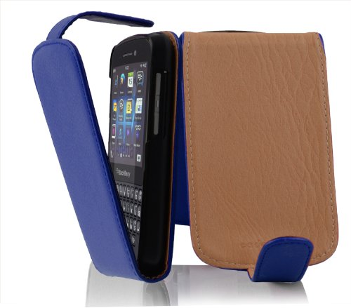 Cadorabo Hülle für BlackBerry Q10 in KÖNIGS BLAU - Handyhülle im Flip Design aus Strukturiertem Kunstleder - Hülle Cover Schutzhülle Etui Tasche Book Klapp Style