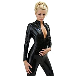 FASHION QUEEN Women's Wetllook Shinny Bodysuit Zip to Crotch Mock Neck Catsuit S-5XL