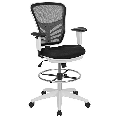Flash Furniture Mid-Back Black Mesh Ergonomic Drafting Chair with Adjustable
