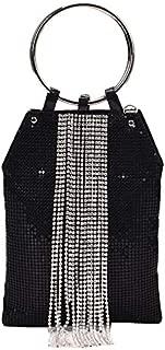 TOOGOO Diamond Tassel Handbag Sequin Women Clutch Evening Bag Ladies Chain Shoulder Party Bag Silver