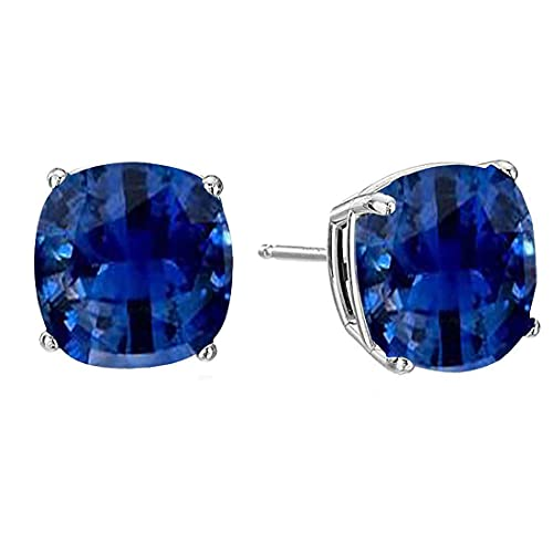 55Carat plata de ley 925 plata de ley cushion-cut Blue Pendientes de zafiro azul creado