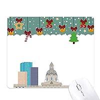 カナダランドマークと都市建築物の漫画 ゲーム用スライドゴムのマウスパッドクリスマス