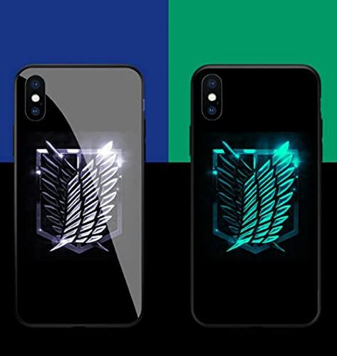 Carcasa de Telefono Luminoso Funda para Teléfono con Cordón, Carcasa de Vidrio Templado Borde Suave Antifricción 3D Anime Attack On Titan Alas Serie Compatible con iPhone 7 Plus