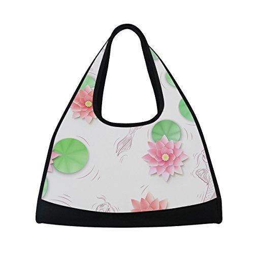 TIZORAX Koi Karpfen und Lotus Papier Blumen Duffle Reisetasche Sport Gym Bag Umhängetasche