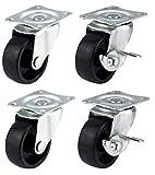 Bulldog Roulettes pivotantes avec freins 40 mm – Roues pour meubles, appareils électroménagers et équipements – 100 kg maximum par lot