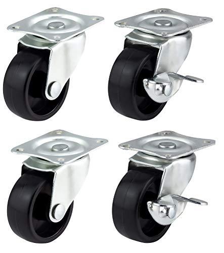 Bulldog Castors Lenkrollen mit Bremsen, 40 mm, für Möbel, Geräte und Ausrüstung, max. 100 kg pro Set
