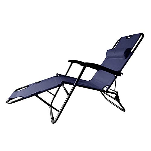 Lounge Chairs Outdoor,Folding Patio Lounge Chairs for Outside Adjustable Footrest Beach Sun Pool Lawn Chaise Chairs with Pillow for Camping Patio Lawn (Dark Blue)