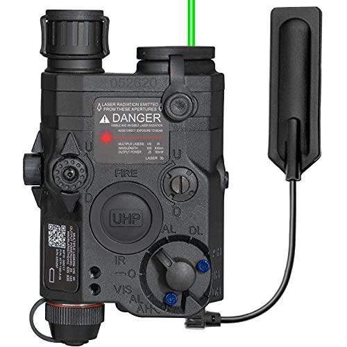 ACTIONUNION Airsoft PEQ 15 Pro Green Laser PEQ Box IR Laser + Green Laser Sight + White LED Flashlight for AEG GBB CQB (Black)