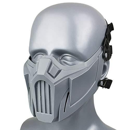 Wwman taktisches halbe Gesichtsschutz Schädel Maske Mesh Maske für Softair Paintball CS Colpay Halloween (Gray)