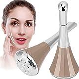 Massaggiatore per la pelle del viso e degli occhi 2in1, dispositivo di massaggio con vibrazione per importazione di siero per il rafforzamento della pelle(Oro)