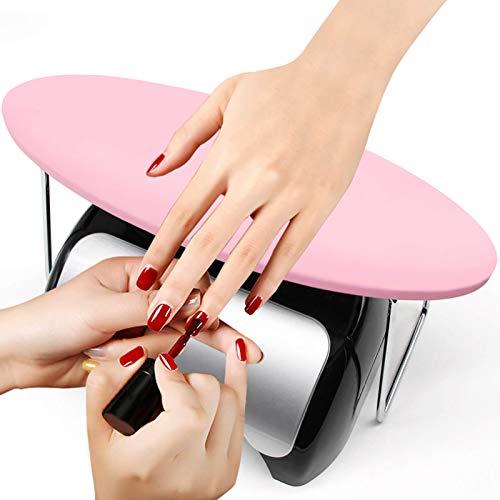 Poggiamano per Manicure, Cuscino Poggiamano Professionale per Nail Art, Materiale in Pelle Microfibra, Morbido e Resistente (Rosa)