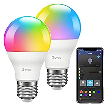 Govee LED Light Bulbs Dimmable Music Sync RGB Color Changing Light Bulbs A19 7W 60W Equivalent No Hub Required Multicolor Decorative Bluetooth LED Bulbs with APP 2Pack  Don t Support WiFi/Alexa