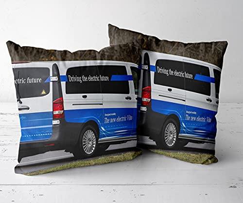 Funda de Cojine Decorativo Moderna Funda de Almohada CuadradaJuego de 2 piezas-18 x18-Funda de cojín, Adecuada para sofá, Ropa de Cama, automóvil, Interior y Exterior.-Mercedes Benz eVito 3
