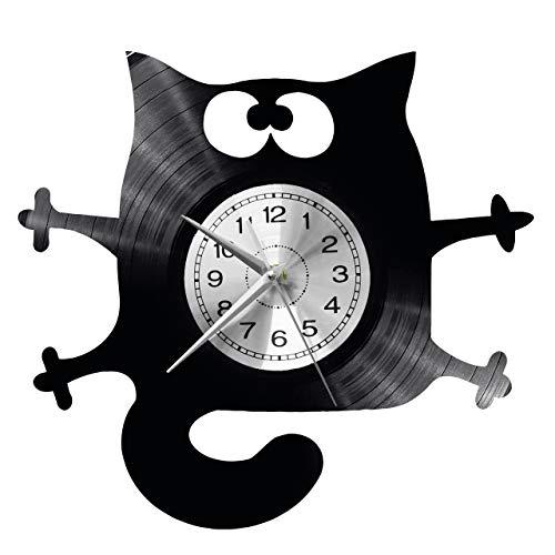 WoD Katze Wanduhr Vinyl Schallplatte Retro-Uhr groß Uhren Style Raum Home Dekorationen Tolles Geschenk Uhr