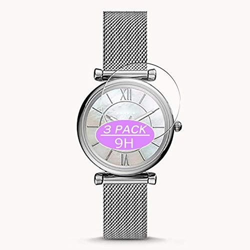 VacFun 3 Piezas Vidrio Templado Protector de Pantalla Compatible con Fossil Carlie WATCH CASE SIZE 34mm, 9H Cristal Screen Protector Película Protectora Reloj Inteligente