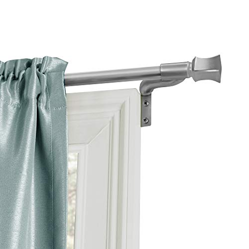 Zenna Home, Brushed Nickel Smart Measuring Easy Install Adjustable Café Window Rod, 18 to 48 in, with Square Finials, 48 Inches