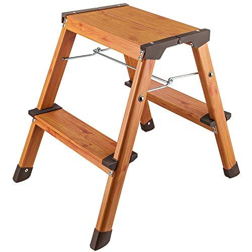 Tatkraft Uplift Doppelseitig Tritthocker mit 2 Stufen, Klapptritt, Leichte Alu-Sicherheits-Haushaltsleiter bis 150 kg, Skandinavischer Holz Look