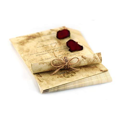 Garsihome edles Briefpapier Vintage zum Hochzeitseinladungen selber basteln, hochwertiges Urkundenpapier A4, altes Papier, Briefpapier für Mädchen, Kirchenheft Hochzeit (antik, 50 Briefbögen)