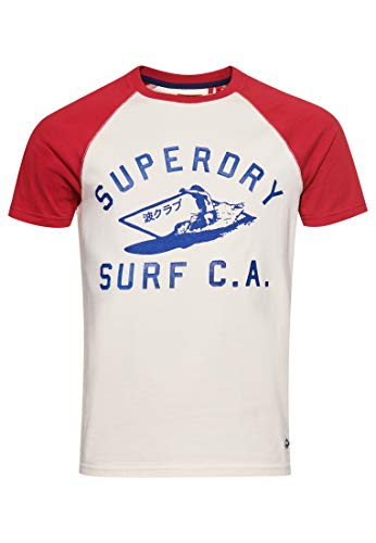Superdry M1010893a Cali Surf Graphic-Camiseta de béisbol, Crema de Mantequilla, L para Hombre