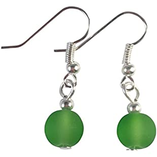 Frosted GREEN Glass Bead Earrings - 8mm Round Beads on Nickelfree Hooks:Cryptools