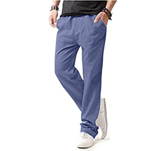 Men's Casual Beach Trousers Linen Jean Jacket Summer Pants