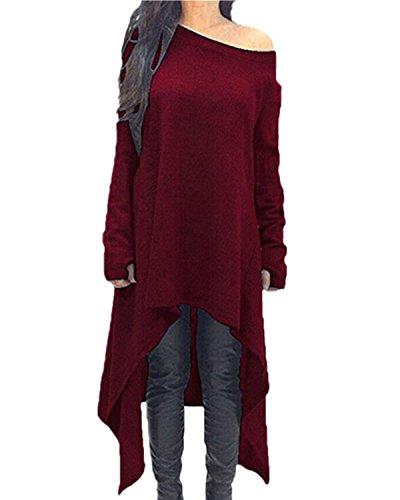 ZANZEA Damen Unregelmäßige Strick Oversize Langarm Pullikleid Longshirt Top Minikleid Rot EU 36/Etikettgröße S