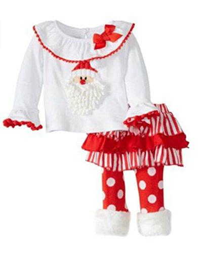 Mud Pie Little Girls' Santa Baby Skirt Set Size 5 (5t)