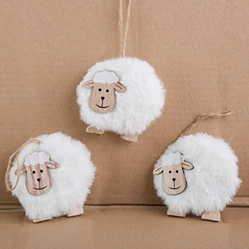 Logbuch-Verlag 3 weiße Schafe - Osterschafe aus Holz und Wolle Natur - Osteranhänger kleines Ostergeschenk Deko Ostern Osterdeko
