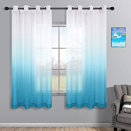 Blue and White Curtains for Bedroom Set of 2 Panels Grommet Ocean Nautical Semi Sheer Window Voile Short Ombre Curtains for Boys Room Decor Kids Playroom 52 x 63 Inch Length