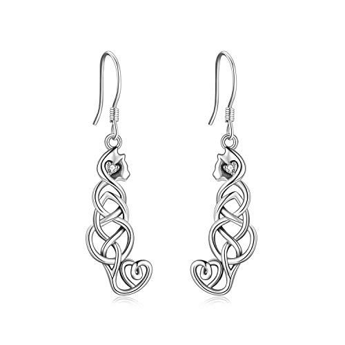 Cat Earrings Sterling Silver Irish Celtic Knot Cat Dangle Drop Earrings Good Luck Cat Jewelry Gifts For Women (white cat earrings)