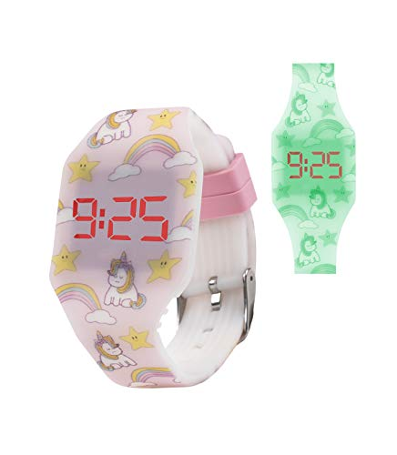 KIDDUS Reloj LED Digital para niña o niño. Pulsera de Silicona Suave. Batería Japonesa reemplazable. Fácil de Leer y Aprender Las Horas. Efecto Fluorescente. KI10220 Arcoiris