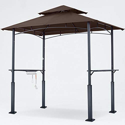 ABCCANOPY 8'x 5' Grill Gazebo Double Tiered Outdoor BBQ Gazebo Canopy with LED Light (Brown)