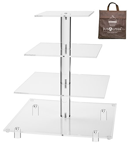 Jusalpha Large 4 Tier Square Acrylic Cupcake Tower Stand-Cake Stand-Dessert Stand-Cupcake holder-Pastry serving platter-Candy Bar Party Décor-Party Supply(4 Tier With Rod Feet) (4SF-V2)