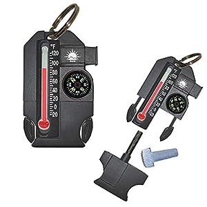 Sun Company Outsider – Multiherramienta de supervivencia 4 en 1 | Brújula, termómetro, silbato y arrancador de fuego en una cremallera compacta